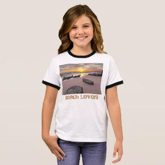 Amants de plage - thème de saison d'été t-shirt ras-de-cou