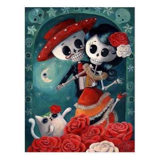 Amants mexicains squelettiques morts cartes postales