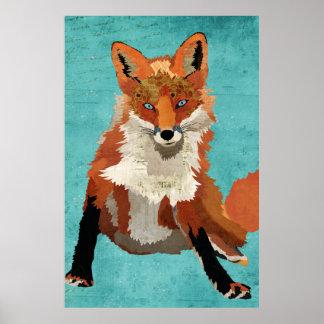 Amber Fox Art Poster
