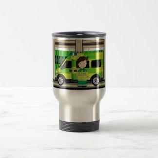 Ambulance de bande dessinée et EMT Mug De Voyage
