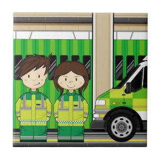 Ambulance de bande dessinée et EMT Petit Carreau Carré