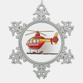 Ambulance d'hélicoptère ornement flocon de neige pewter