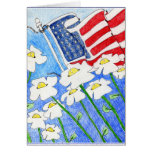 Âme aliénée : Fleurs payant le drapeau des USA Carte De Vœux