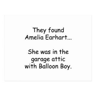 Amelia Earhart et garçon de ballon Carte Postale