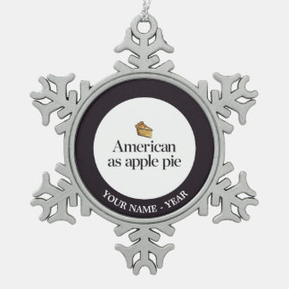 Américain comme tarte aux pommes ornement flocon de neige pewter