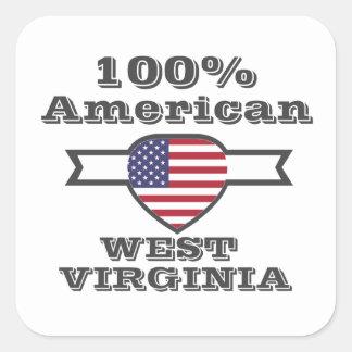 Américain de 100%, la Virginie Occidentale Sticker Carré