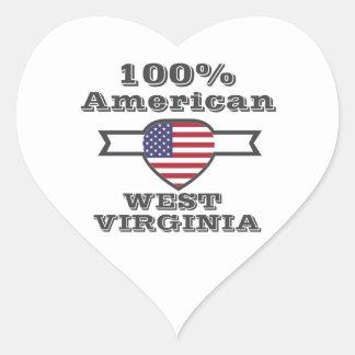 Américain de 100%, la Virginie Occidentale Sticker Cœur