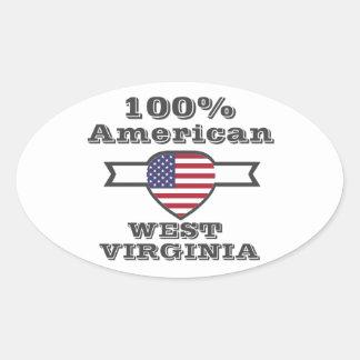Américain de 100%, la Virginie Occidentale Sticker Ovale