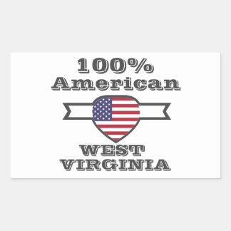Américain de 100%, la Virginie Occidentale Sticker Rectangulaire