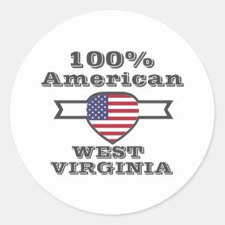 Américain de 100%, la Virginie Occidentale Sticker Rond
