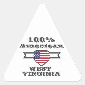Américain de 100%, la Virginie Occidentale Sticker Triangulaire