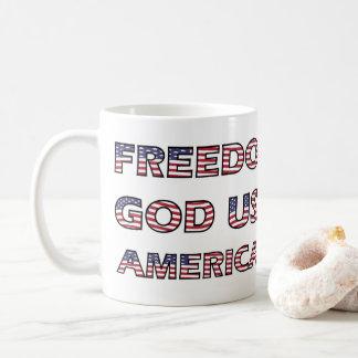 Américain de Dieu de liberté des textes de drapeau Mug