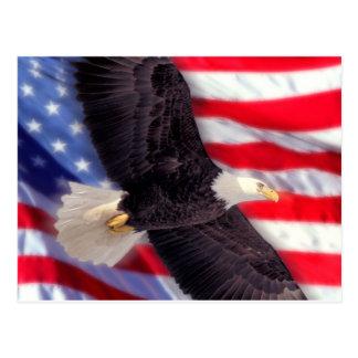 Américain Eagle avec la carte postale de drapeau