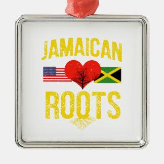 Américain jamaïcain ornement carré argenté