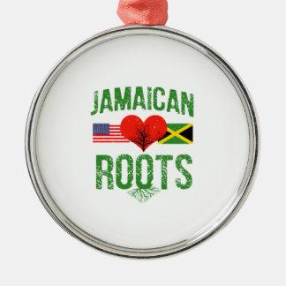 Américain jamaïcain ornement rond argenté