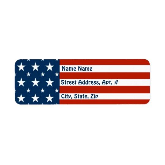 [Américain patriote] drapeau d'étoiles et de Étiquette D'adresse Retour