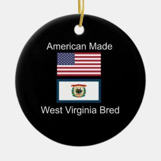 """""""Américain soutenu. La Virginie Occidentale a Ornement Rond En Céramique"""