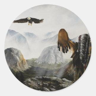 Ami bienvenu de Painting~ de Natif américain Adhésif Rond