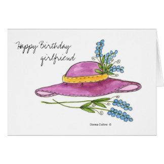 Amie de joyeux anniversaire * casquette rose cartes