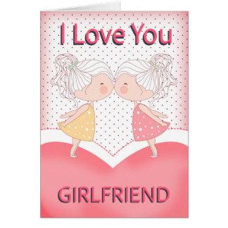 Amie, lesbienne, couple de baiser mignon Valentine Carte De Vœux