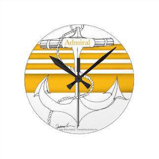 amiral d'or, fernandes élégants horloge ronde