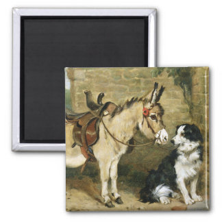 Amis animaux de chien et d âne - art vintage par E Magnets Pour Réfrigérateur