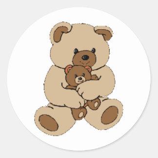 Amis d'ours de nounours autocollant rond