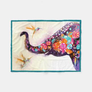 """""""Amis enchanteurs"""" colibri et éléphant Couverture Polaire"""