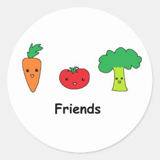Amis végétaux heureux sticker rond