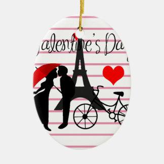 Amour à Paris Ornement Ovale En Céramique