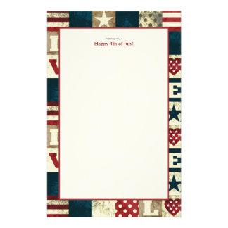Amour Amérique patriotique 4 juillet Papier À Lettre Personnalisé