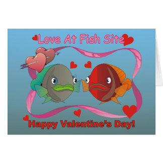 Amour au site de poissons carte de vœux
