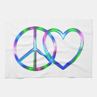 Amour brillant de paix serviettes éponge