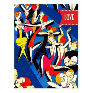Amour. Cartes postales de conception d'art déco de