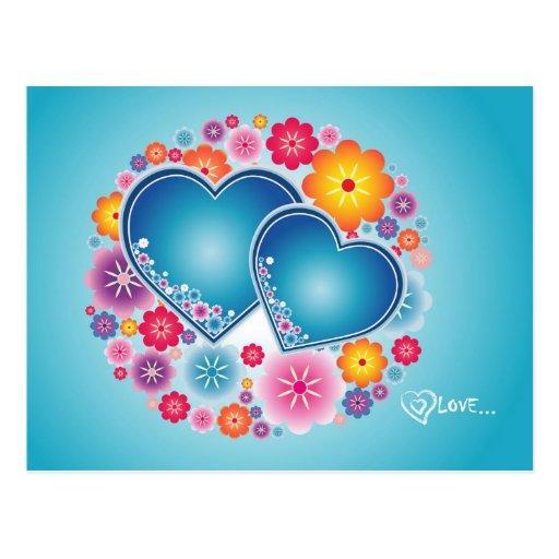 amour coloré avec des coeurs et des fleurs carte postale
