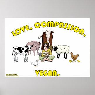 Amour. Compassion. Végétalien. Affiche