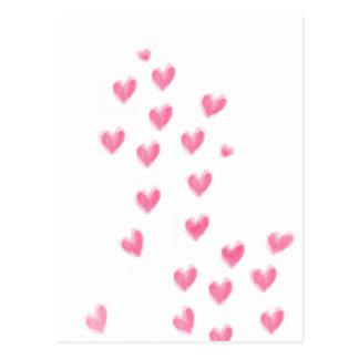 AMOUR - conception pour aquarelle de coeurs Cartes Postales