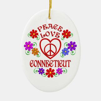Amour Conecticut de paix Ornement Ovale En Céramique