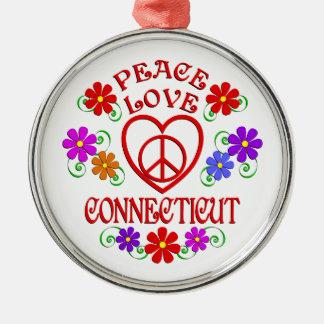 Amour Conecticut de paix Ornement Rond Argenté
