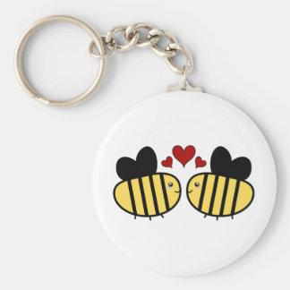 Amour d'abeille de miel porte-clés