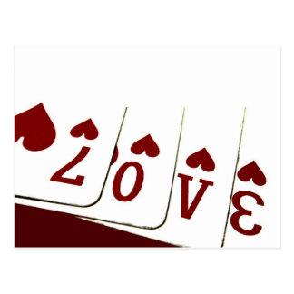 Amour dans des cartes de jeu de coeur