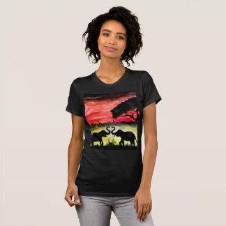 Amour dans la jungle - peinture acrylique t-shirt