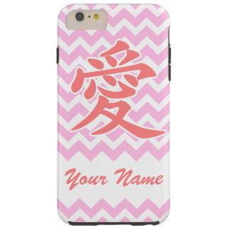 Amour dans le Japonais avec le motif rose de Coque iPhone 6 Plus Tough