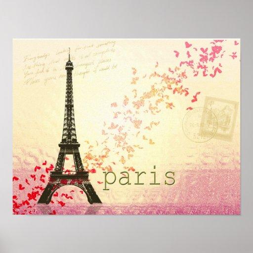 Amour dans Tour Eiffel de Paris Affiche