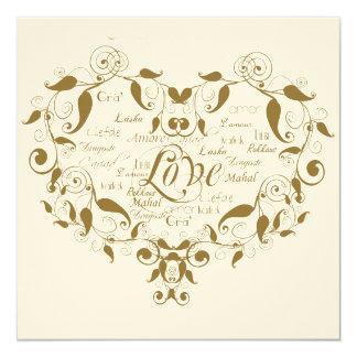 Amour dans tout faire-part de mariage d'or de