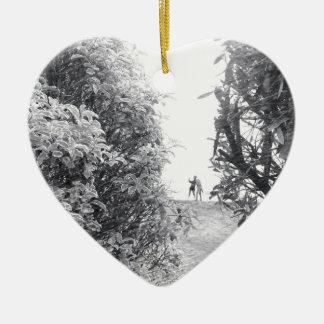Amour dans une photo ornement cœur en céramique