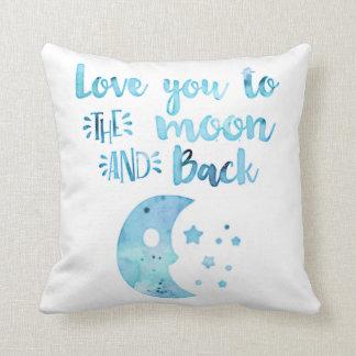 Amour d'aquarelle de bébé vous à la lune et au dos oreillers