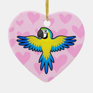 Amour d'ara/perroquet ornement cœur en céramique