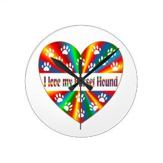 Amour de Basset Hound Horloge Ronde