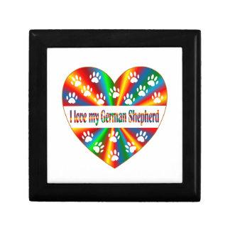 Amour de berger allemand petite boîte à bijoux carrée